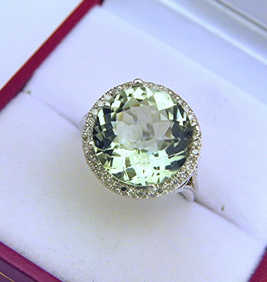 Wedding - AAAA  Green Amethyst  12mm  5.52 carats   in 14K White gold Diamond Halo ring with  .15 carats of  VS diamonds 0842