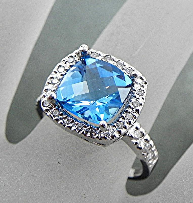 Wedding - Blue Topaz Natural   9x9mm  3.66 Carats   14K White gold diamond (.40ct) Ring 0989 H99