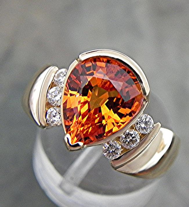 زفاف - AAAA Mandarin Orange Spessartite Garnet 10x8mm 3.48 Carats 14K Yellow Gold engagement ring w/ .20 ct diamonds w/ Certificate 1595