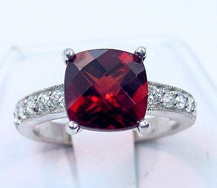 Mariage - Natural Red Pyrope Garnet   9x9mm  4.12 Carats   in 14K White gold diamond (.30ct) Ring 0722