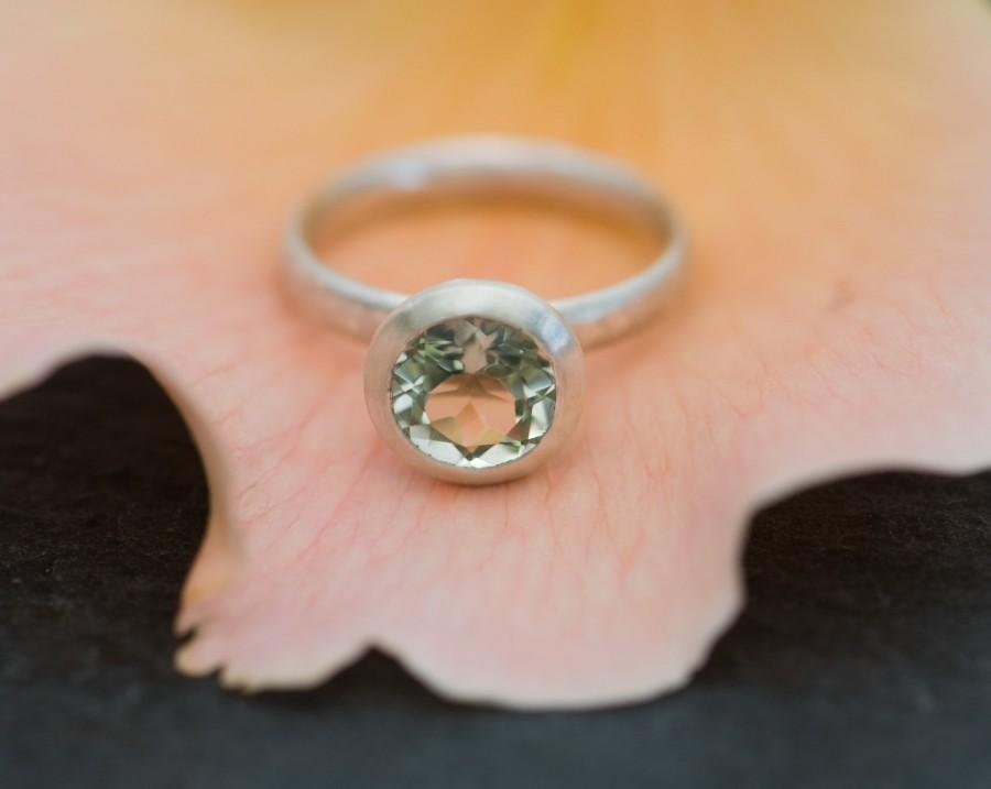 Hochzeit - Green Amethyst Engagement Ring - Pale Green Gemstone Halo Ring Set in Silver
