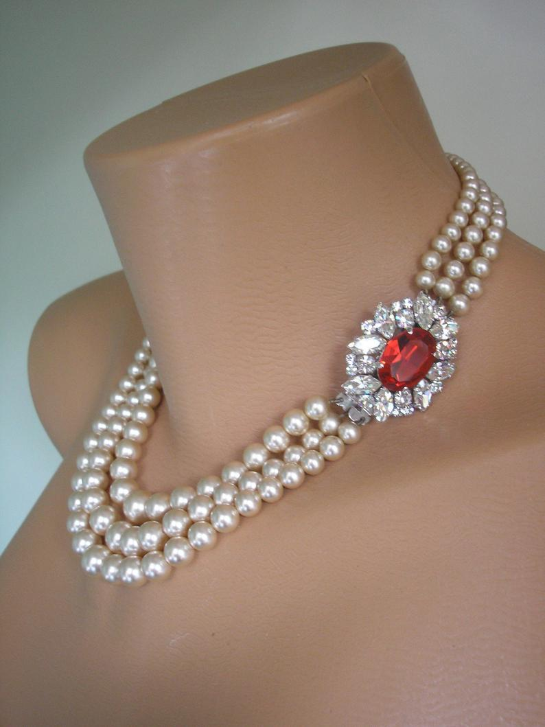 Свадьба - Pearl And Ruby Necklace, James Walker Pearls , Pearls With Side Clasp, Vintage Pearl Choker, Bridal Jewelry, Wedding Jewelry, Art Deco