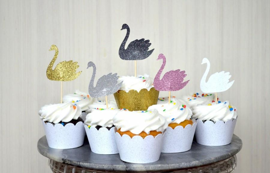 Mariage - Swan Cupcake Toppers - In your choice of Gold Glitter