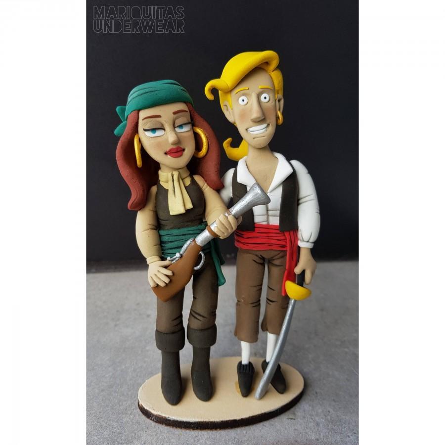 Свадьба - Monkey Island Topper Guybrush Threepwood & Elaine Marley Wedding Caketopper