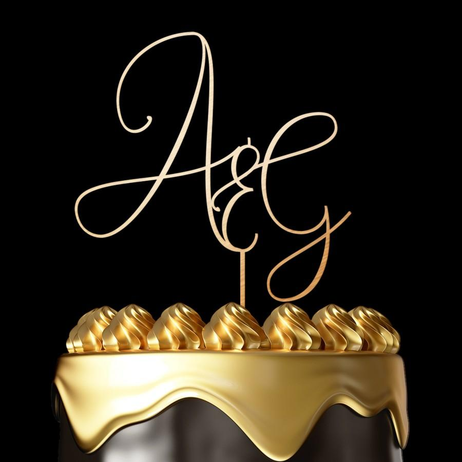Mariage - Letter wedding cake toppers Initial cake topper personalised wedding cake toppers wooden cake toppers gold cake topper Gold