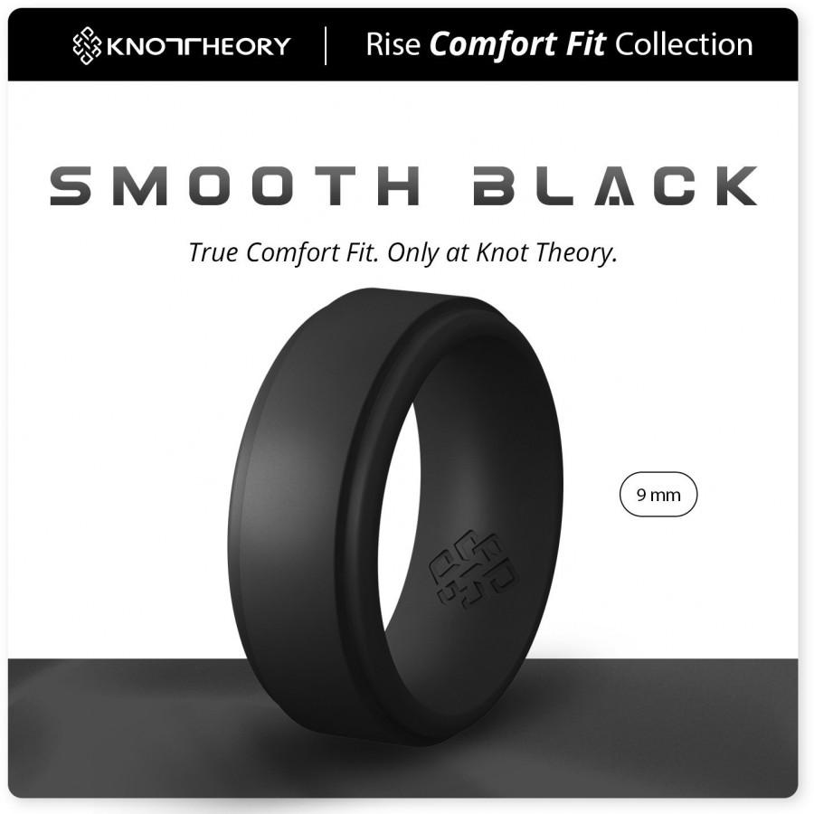 Свадьба - Knot Theory Breathable Smooth Black Silicone Ring for Men - Step Edge 9mm Wide Rubber Wedding Band Size 8 ~ 14