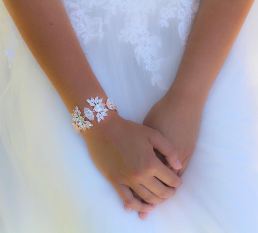 زفاف - Rose Gold bracelet Bridal bracelet Bridal jewelry Crystal bracelet Wedding bracelet Statement bracelet Cuff bracelet Vintage style bracelet