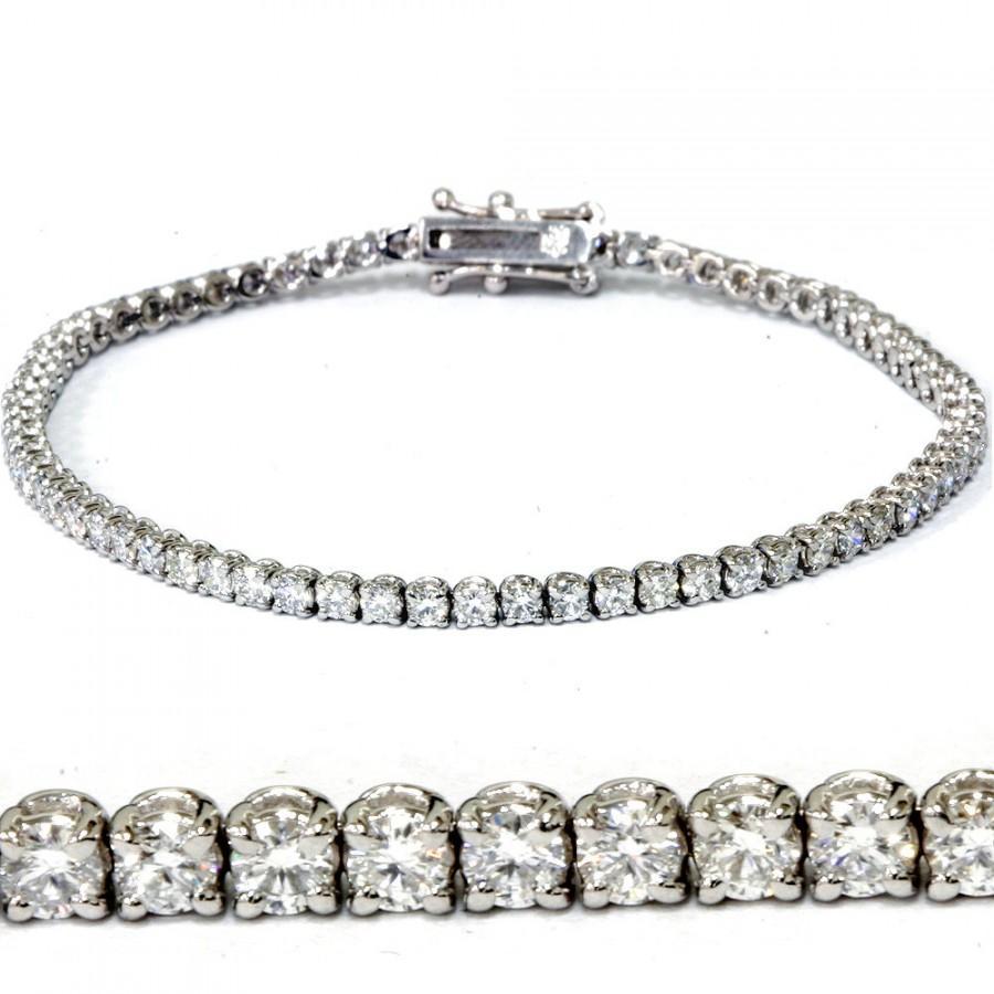 """زفاف - Diamond Tennis Bracelet E VVS 3 Carat Didamond Tennis Bracelet 7"""" 18k White Gold"""