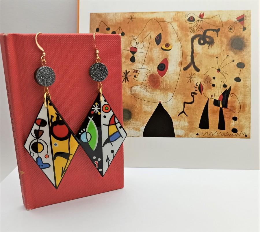 Mariage - Wooden painted earrings inspired by Miro Art. Geometrical dangle statement earrings.Colorful inspirational women gift. 24k gold plated hooks