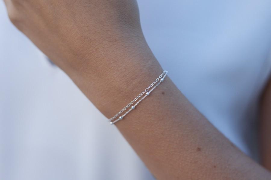 Wedding - Sterling Silver Chain Bracelet, Dainty Chain Bracelet, Double Chain Bracelet, Layering Bracelet, Satellite Chain Bracelet