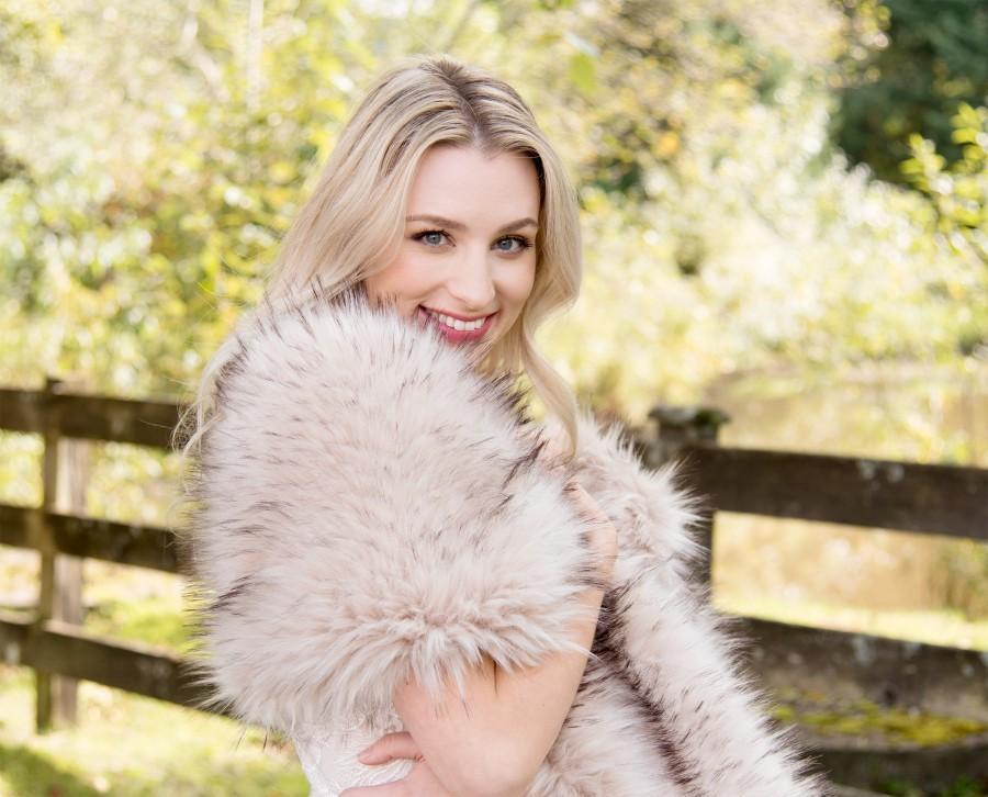 Свадьба - Blush / beige / light brown faux fur wrap faux fur stole faux fur shawl bridal wrap faux fur shrug B005-blush