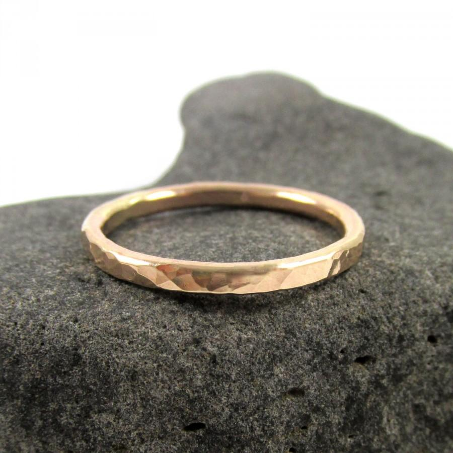Hochzeit - Gold Hammered Ring, Thick Band, Mens Ring, Unisex, Textured Handmade Hawaii, Minimalist Jewelry, Gift Idea For Her Stack Rings, Boho Fashion
