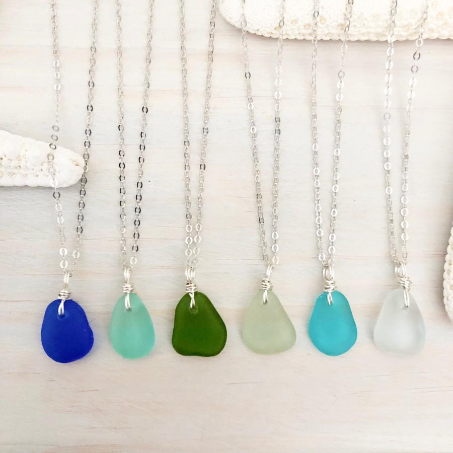 Hochzeit - Dainty Sea Glass Necklace - Beach Glass Necklace - Sea Glass Jewelry - Beach Lover Gift - Mermaid Jewelry - Mini Seaglass Necklace - Ocean