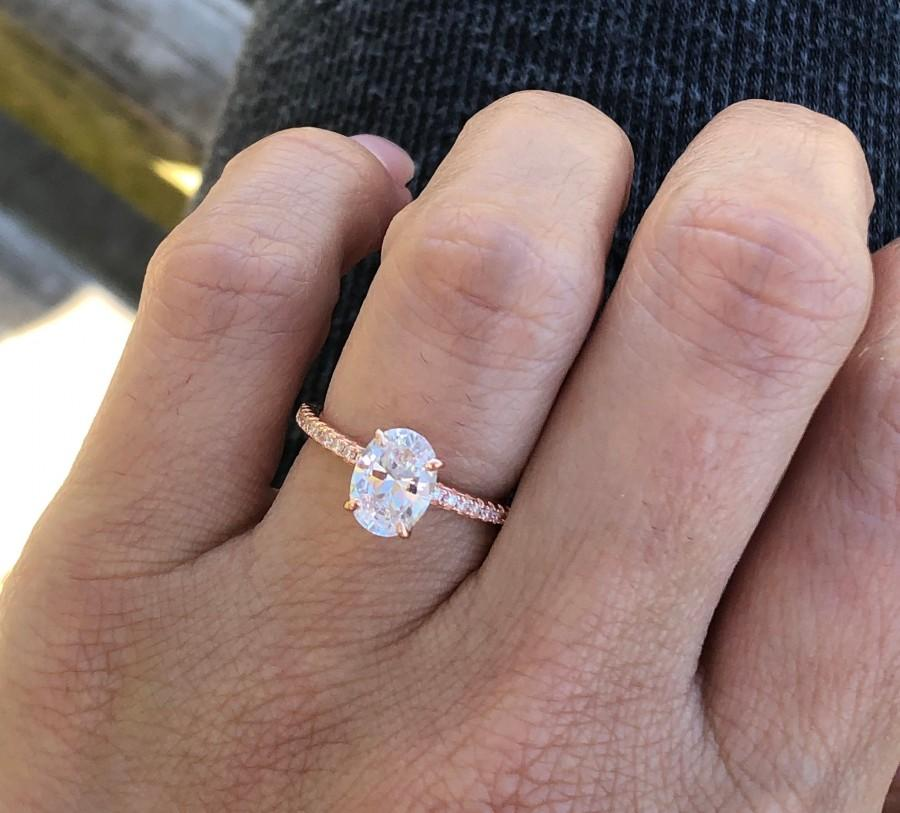 Hochzeit - Rose Gold Oval Engagement Ring. 1 Ct Oval Cut Engagement Ring. High Quality Promise Ring. Rose Gold Wedding Ring. Solitaire Ring.