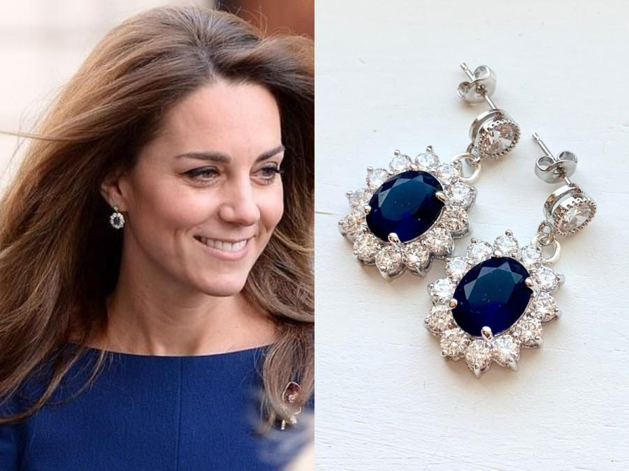 Hochzeit - Kate Middleton Sapphire Blue Crystal Cubic Zirconia Flower Drop Rhodium Sterling Silver Oval Replikate Princess Diana Earrings