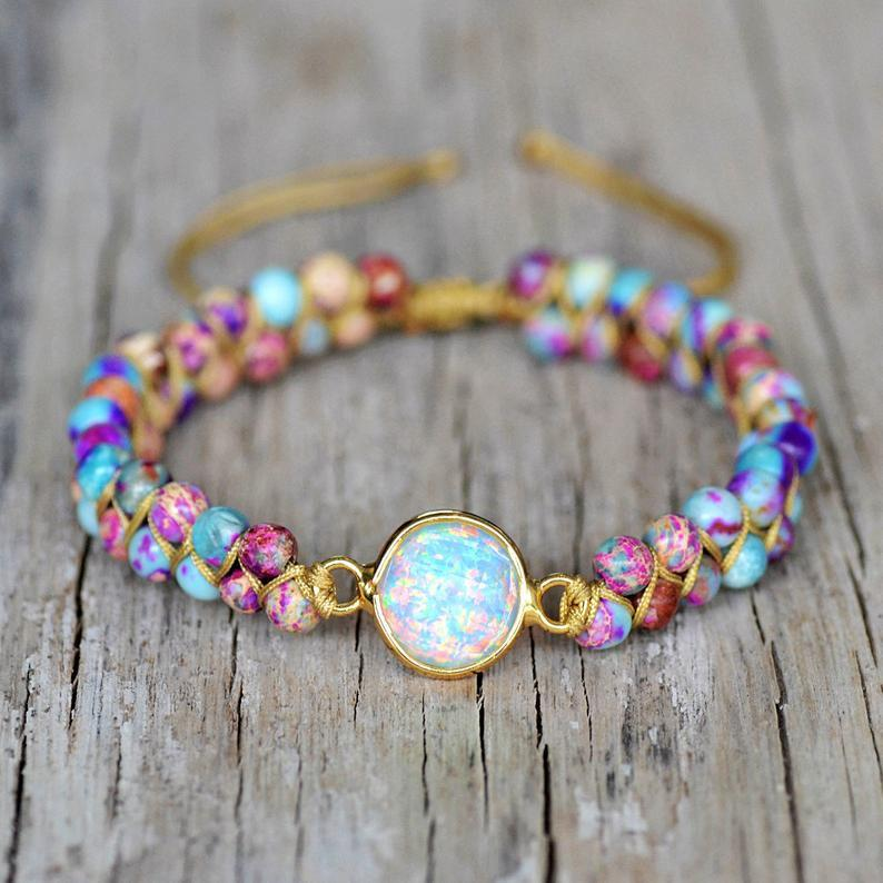 Hochzeit - Opal Stone Bracelet-Natural Galaxy Sea Sediment Bracelet-Grounding Healing Spiritual Protection Meditation Anxiety Stress Relief Bracelet