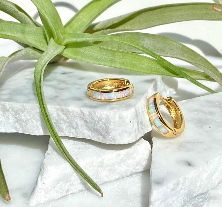 Hochzeit - opal huggies, opal hoops, gold opal earrings, opal earrings, gold hoops, gold huggies, hoop earrings, opal jewerly, minimal hoop