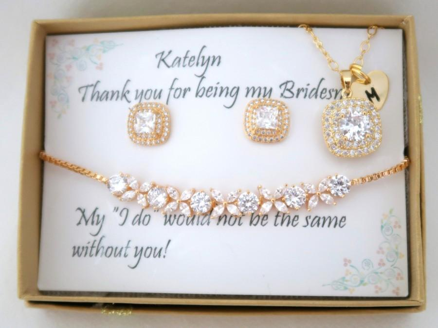 Hochzeit - Custom Personalized Bridesmaid Jewelry Set, Bridesmaid gift Set, Bridesmaid Earrings, Necklace and Bracelet Set, Wedding Party gift Jewelry