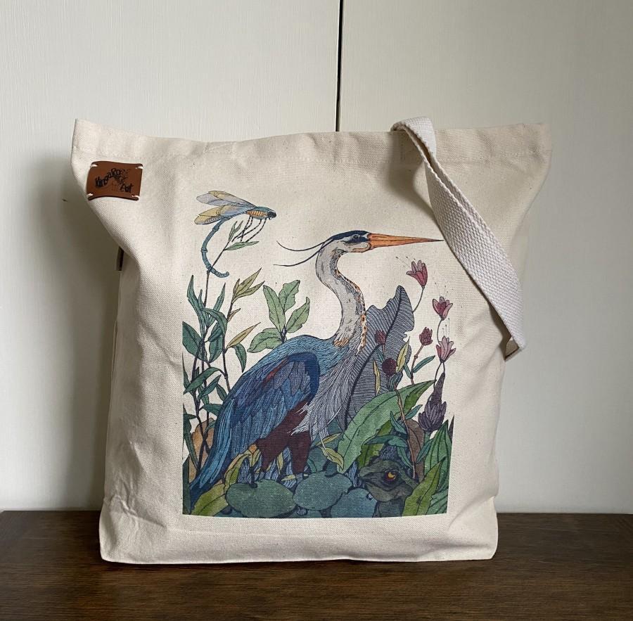 Wedding - Blue Heron Print Tote Bag. Canvas Tote Bag. Shoulder Bag. Market Bag. Utility Bag.