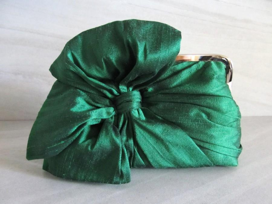 Wedding - Emerald Green Silk Bow Clutch,Bags And Purses, Bridal Accessories,Green Clutch,Bridal Clutch,Bridesmaid Clutch,Bridesmaid Gift
