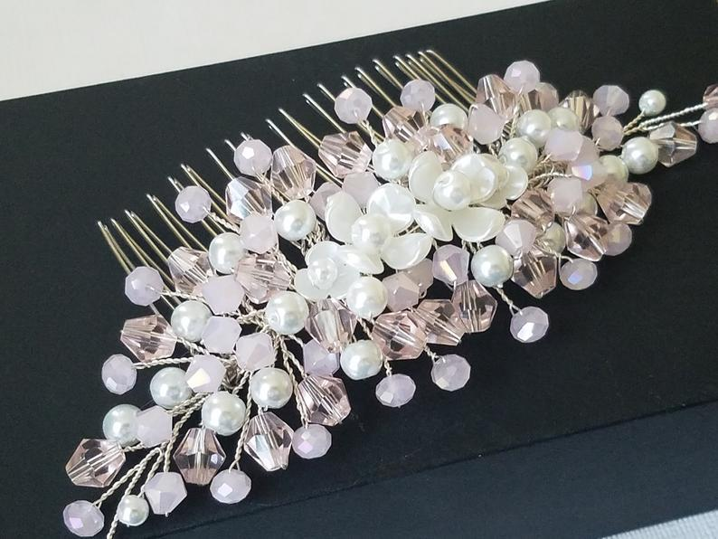 Mariage - Blush Pink Crystal Hair Comb, Light Pink Bridal Hair Piece, Pastel Pink Crystal Pearl Comb, Wedding Pink Hair Piece, Blush Pink Hair Jewelry