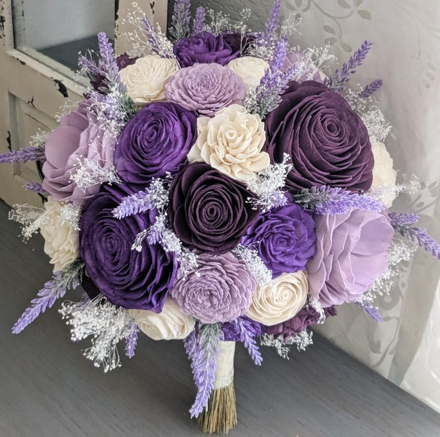 Свадьба - Purple, Plum, Lilac, and Ivory Sola Wood Flower Bouquet with Lavender and Baby's Breath - Bridal Bridesmaid Toss