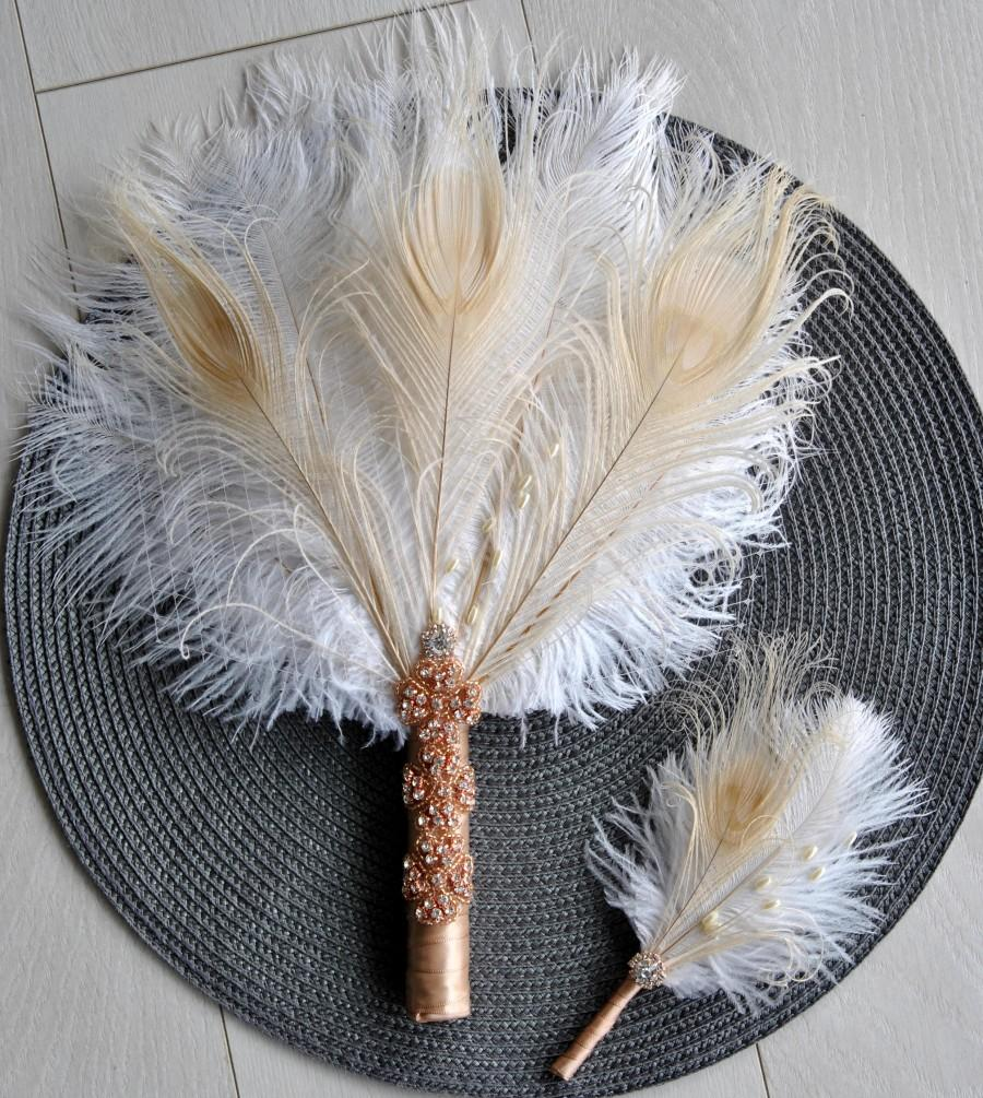 Свадьба - Rose Gold Bridal alternative Ostrich Feather Fan Bridesmaid Fan Bouquet Great Gatsby 1920s Bouquet wedding groom feather boutonniere