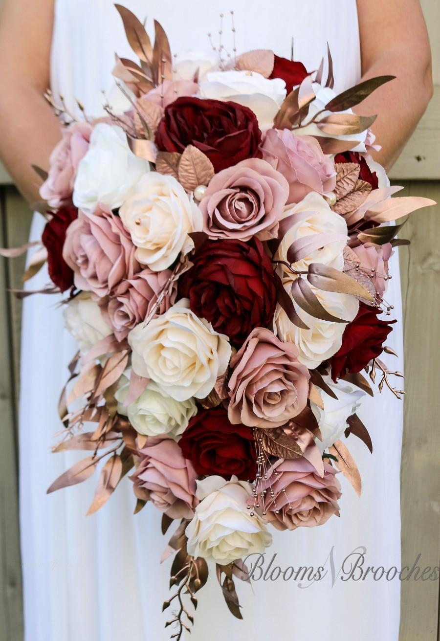 Свадьба - Cascade Bridal Bouquet, Wine, rose Gold, Dusty rose Bouquet, Bridal Flowers, Custom Wedding Package, Blush and Ivory Bouquet