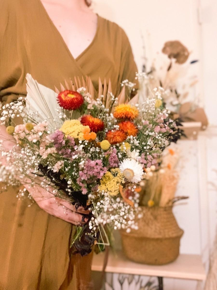 Hochzeit - Rustic bridal bouquet, colorful bridal bouquet,burnt orange dried flowers bouquet,dried flowers bouquet,boho bridal bouquet,palm leaf bouq