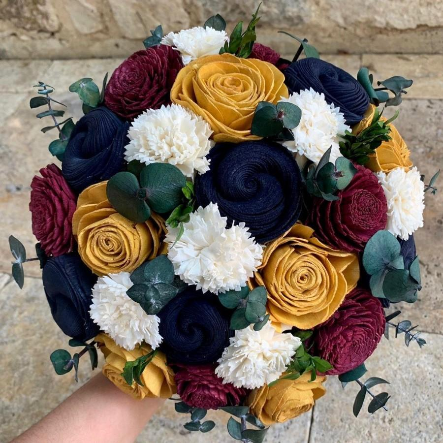 Mariage - Burgundy , Navy and Gold Wedding Bouquet, Brida Bouquet, Sola Wood Flower Bouquet