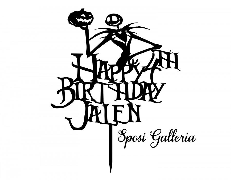 Hochzeit - Happy Birthday ADD NAME & AGE - Jack Skellington A Nightmare Before Christmas Cake Topper