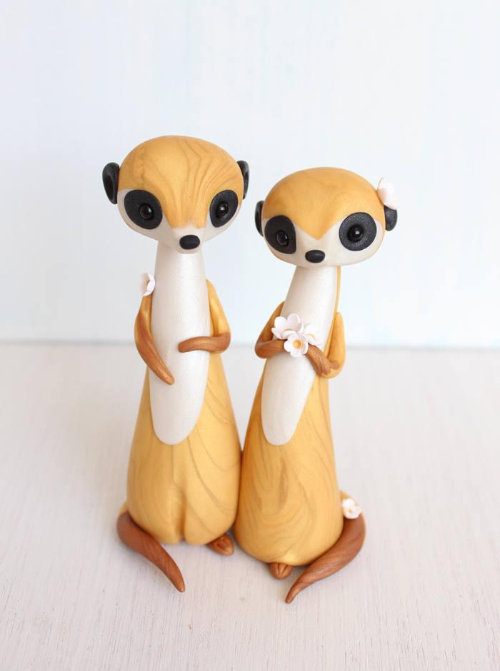 زفاف - Meerkat Wedding Cake Topper - animal clay cake topper and keepsake by Heartmade Cottage