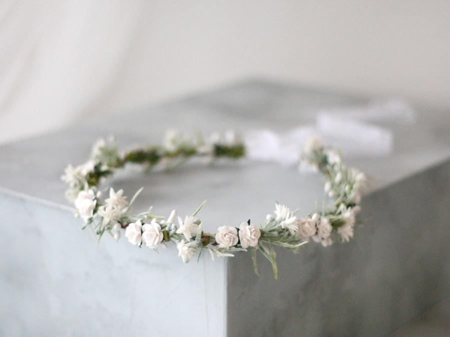 زفاف - White flower crown wedding, dainty floral headband, bridal flower halo