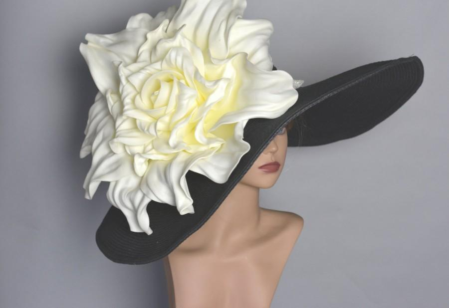 """Свадьба - Over Size 8"""" Black Hat Over Size Ivory Rose Wedding Hat Kentucky Derby Hat Wedding Accessory Tea Hat  Cocktail Hat Summer Hat Woman Hat"""