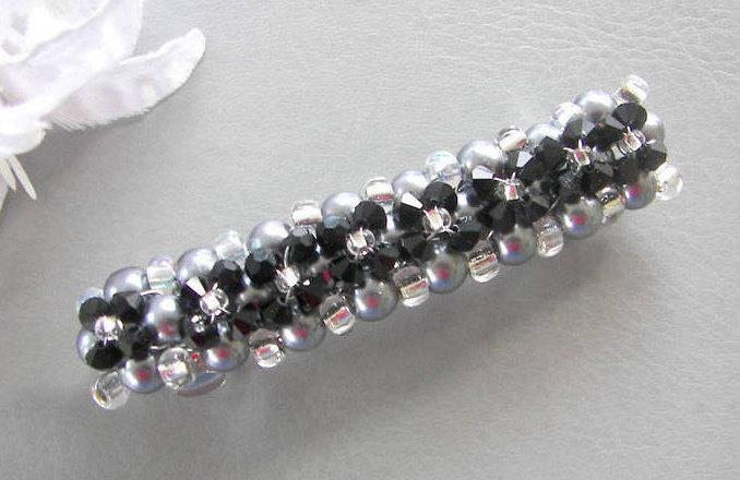 Hochzeit - Wedding Barrette, Black Swarovski Crystal and Gray Pearl Barrette, Hair Clip Wedding Barrette, Mother of the Bride/Groom Choice of Colors