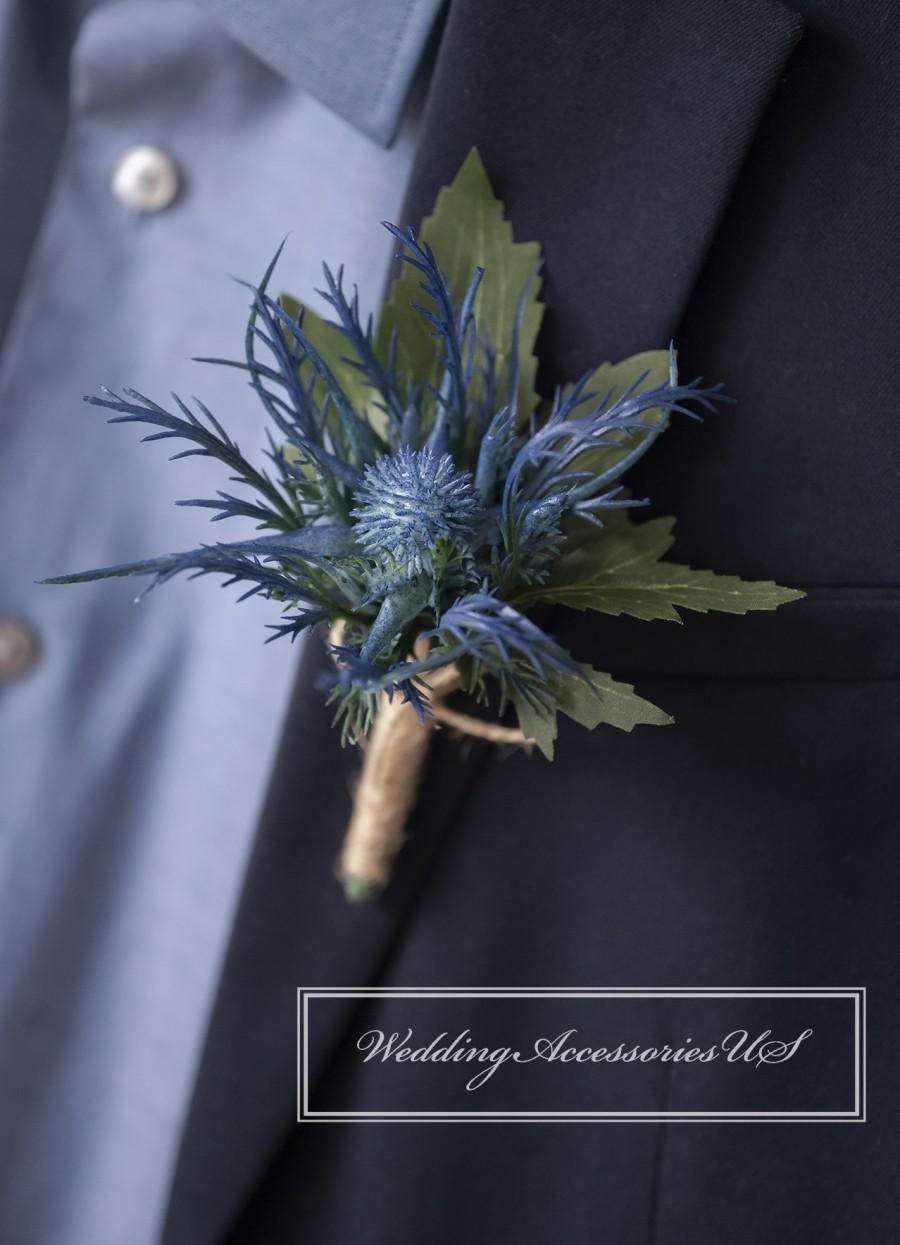 زفاف - Thistle Boutonniere, Blue Thistle Boutonniere, Purple Thistle Boutonniere, Rustic Wedding, Scottish Thistle, Winter Boutonniere, Artificial