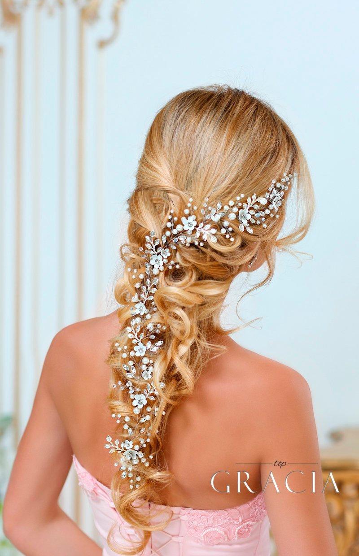 Mariage - Bridal hair vine Long hair vine Wedding hair vine Flower hair vine Wedding headpiece Pearl hair vine Bridal hairpiece Crystal hair vine