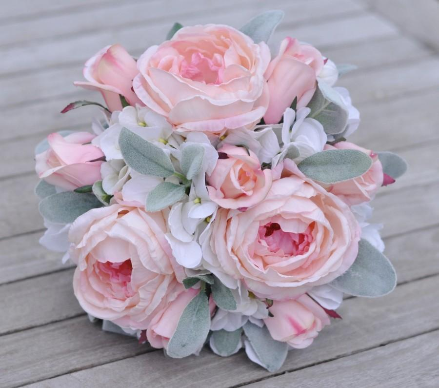 Hochzeit - Wedding Flowers, Wedding Bouquet, Keepsake Bouquet, Bridal Bouquet made with Lambs Ear, Pink Cabbage Rose, Pink Rosebuds, & White Hydrangea.