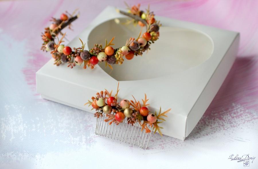زفاف - Orange berry headband Woodland tiara Forest comb crown Berries comb Autumn wedding crown Rustic hair comb Woodland wedding set
