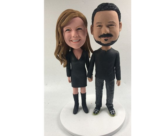 Hochzeit - Handmade Custom Perfect Match Bobblehead Happy companion Gift 100% Handmade Polymer Clay Bobbleheads Cake Toppers