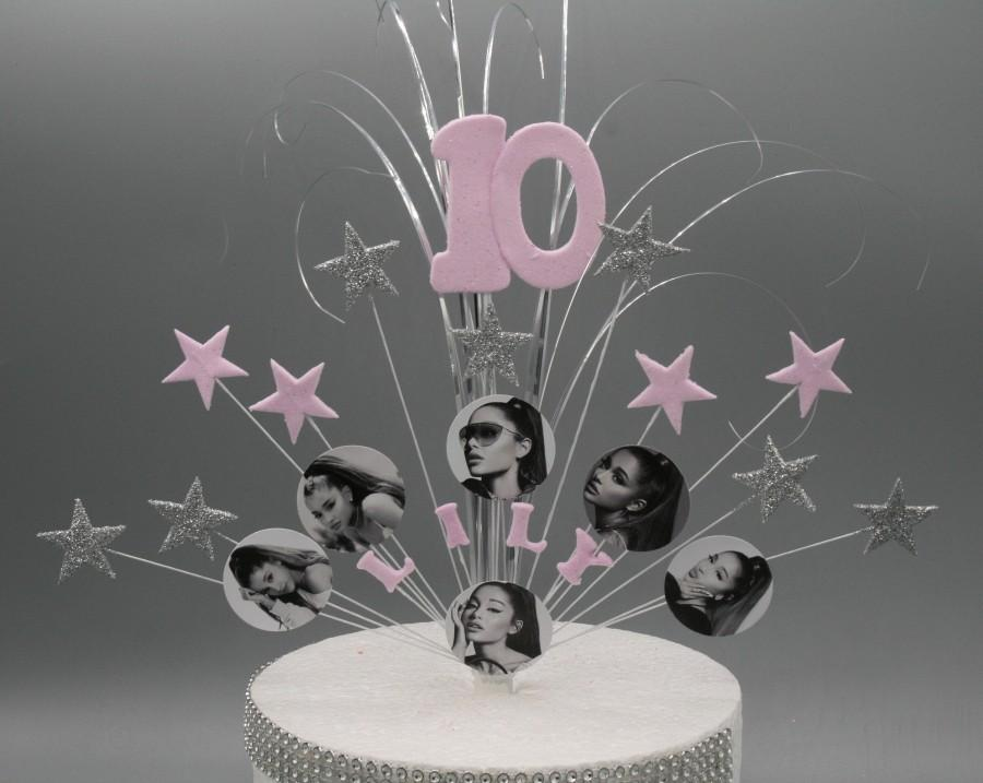 زفاف - Ariana Grande Cake Topper Spray Cake Decoration Birthday 7th 8th 9th 10th 11th 12th 13th 14th 15th 16th any age Feathers Stars on Wires 005