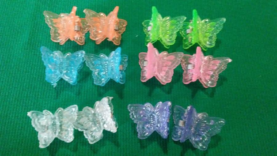 """Hochzeit - Butterfly clips 12 pc set 3/4""""x3/4"""", 1990s butterfly clips, multi-color spring clips, 90's accessories, vintage Barrett set,"""