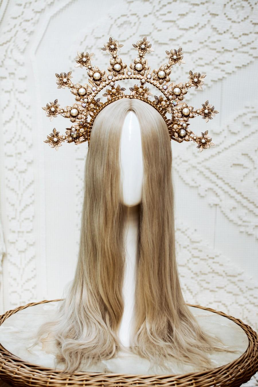 Свадьба - Gold Halo crown, Glitter Halo Headpiece, Festival crown, Boho Wedding, Met Gala Crown, Wedding Crown, Zip Tie Crown, Mary Crown, Boho Crown