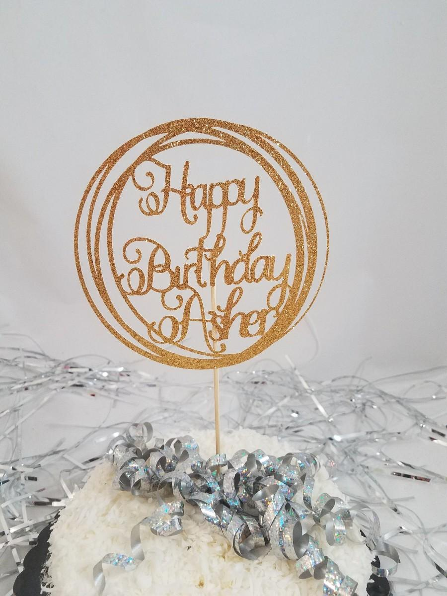 Hochzeit - Personalized Glitter Happy Birthday Circle Centerpiece Stick / Cake Topper / Any Birthday / Birthday Table Decorations