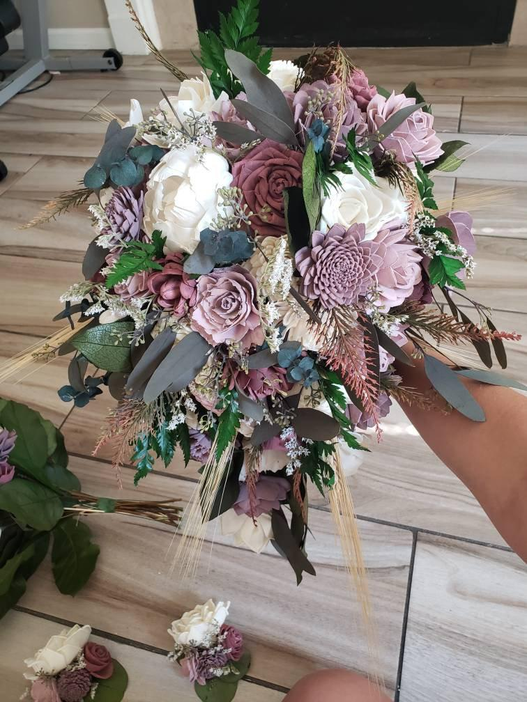 Свадьба - Dusty shades of rose cascading bouquet, sola wood flowers