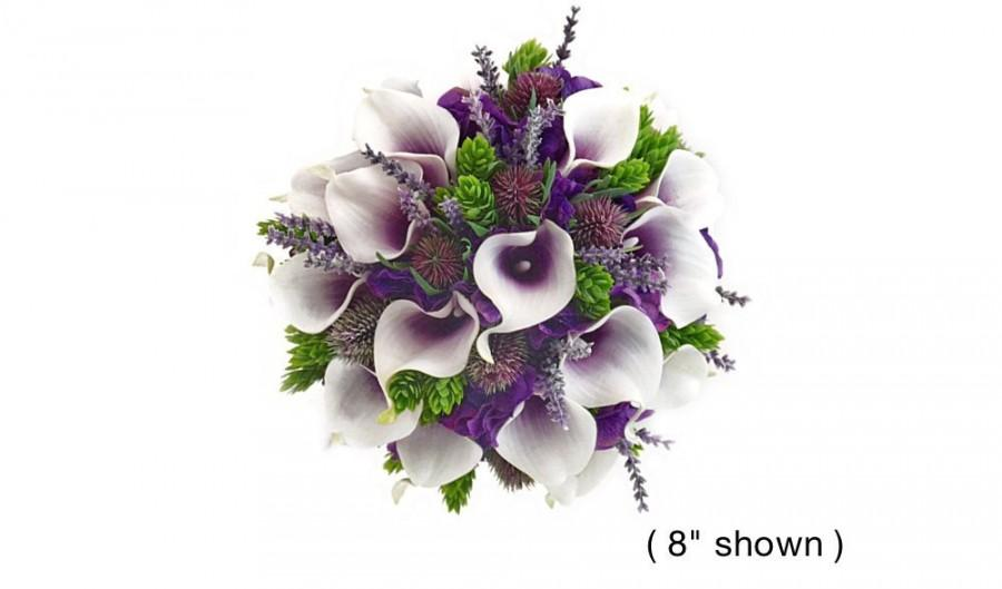 Mariage - Real Touch Hydrangea Picasso Plum Calla Lilies Hops Lavender Thistle Bridal Bridesmaids Bouquets Prom Bouquet Wedding Flowers CenterPieces