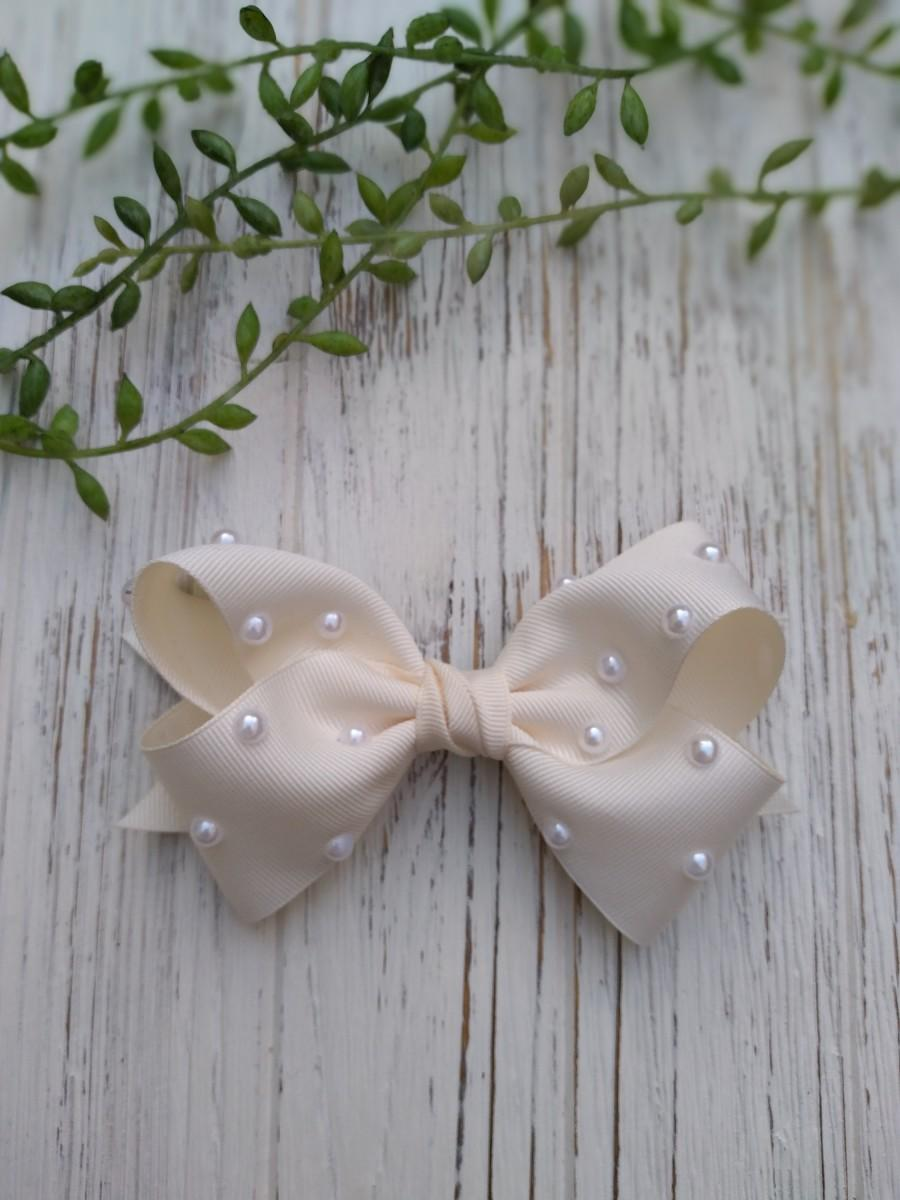 Wedding - Pearls Grosgrain Hair bows, Nylon Baby headbands, Big Bows for Girls, chic hair bows, accessories for toddler girls, Gifts for Daughter