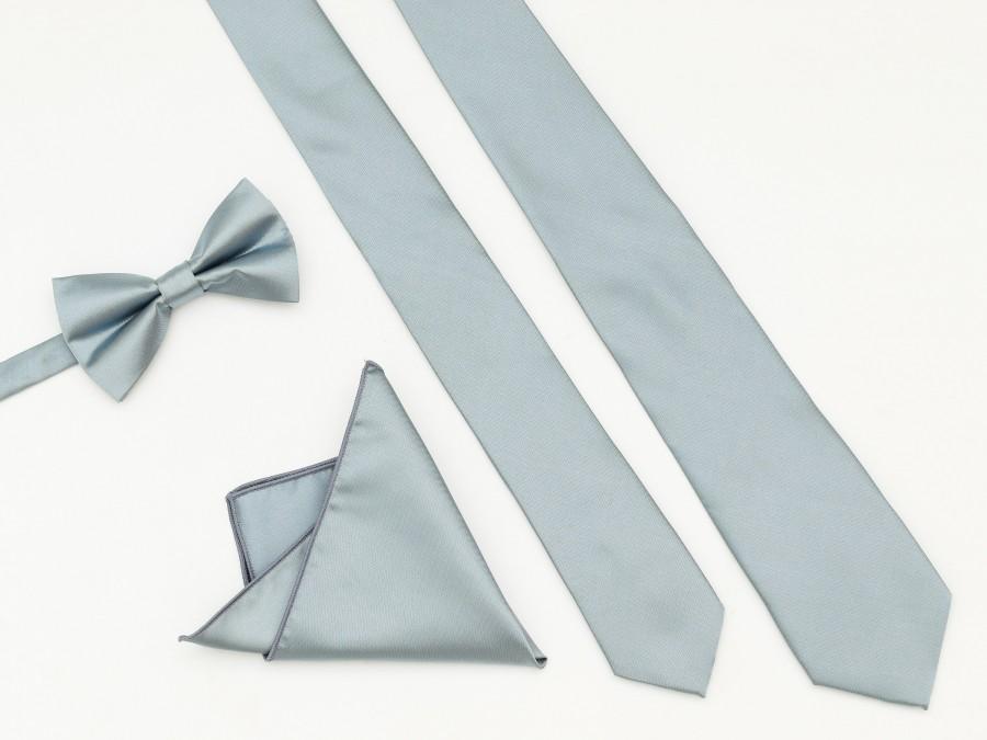 زفاف - DUSTYBLUE Wedding Tie, Men's Ties, Vintage Men's Tie, Dusty Blue Bow Tie, Groomsmen Tie, Dustyblue Dress Tie, Pocket Square Tie, Neck Tie