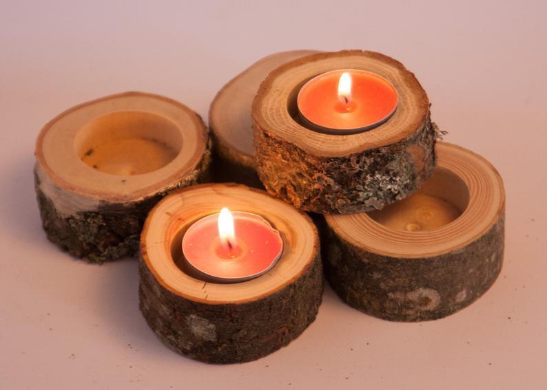 Mariage - Set of 10 wedding candle holders, tea light holder, oak candleholders, rustic wedding decor, log holder, wedding favors, christmas decor