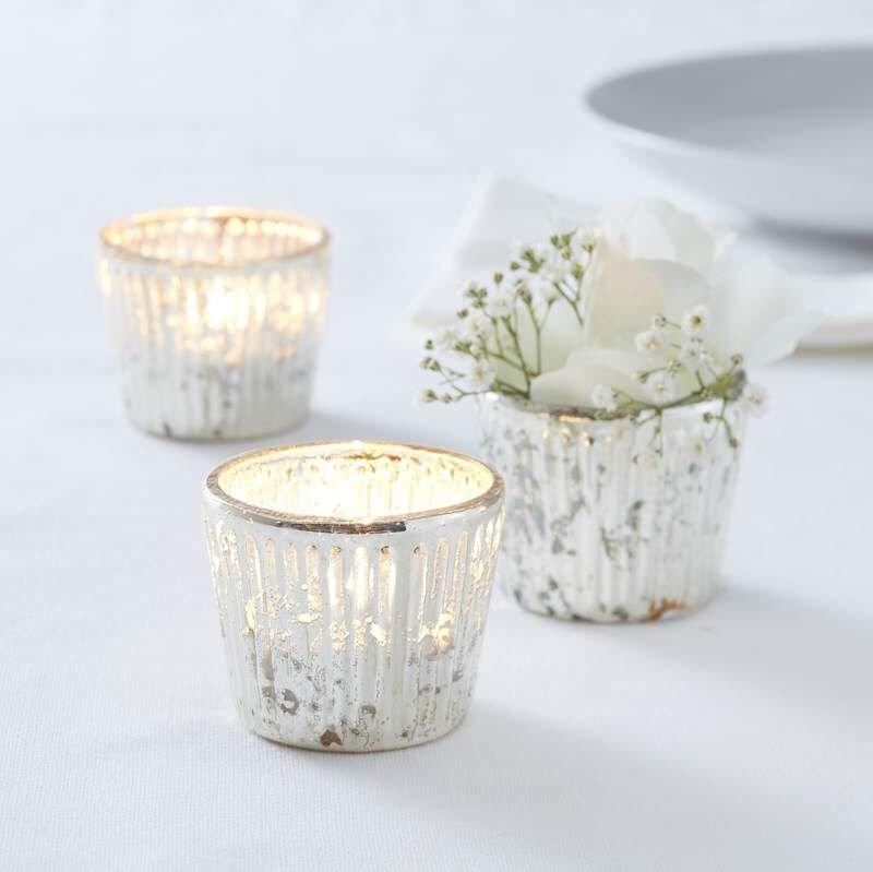 Свадьба - Silver Ribbed Frosted Glass Tealight Holder, Candle Holders, Rustic Wedding Decorations,  Venue Decorations, Wedding Table, Home Decorations